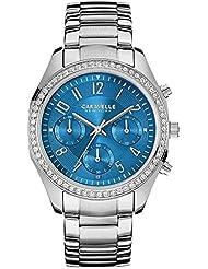 Caravelle by Bulova Womens Steel Bracelet & Case Quartz Blue Dial Chronograph Watch 43L182