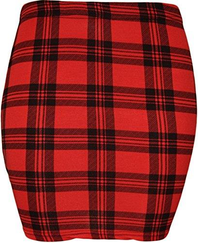 et The Imprim Home Mini Bodycon jupe stretch carreaux Fashion Jersey pour et Rouge of femme Noir ww84q1p