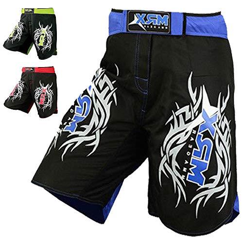 New MRX MMA Fight Shorts Stretch Penals Grappling UFC Cage Fighting Muay Thai Kickboxing Trunks (Black Blue, Medium)