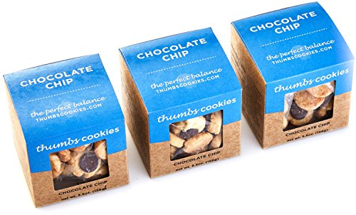 Thumbs Cookies Gourmet Chocolate Chip Cookie Pack of Fresh Baked Cookies - 3 Boxes - 1/3 lb. Cookie Gift (Grand Gourmet Cookie)