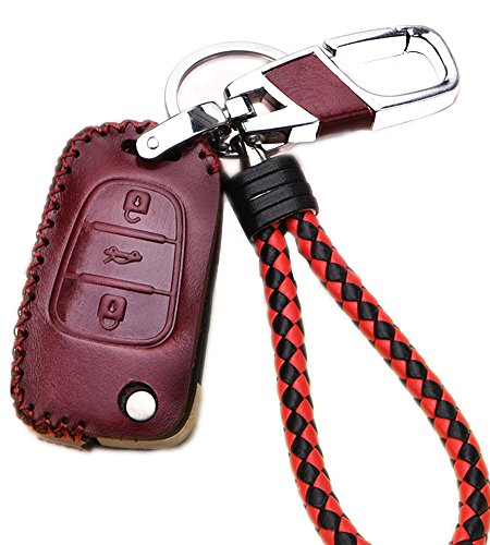 Leather Key Fob Case Cover Shell For KIA Sportage Optima Rio Soul K5 K2 Hyundai 30 i35 Flip Remote Car Key Holder Protective Bag Skin with Braided Key Chain & Key Rings Auto Accessories Gifts Wine Red (Key Fob Remote Ultra Start)