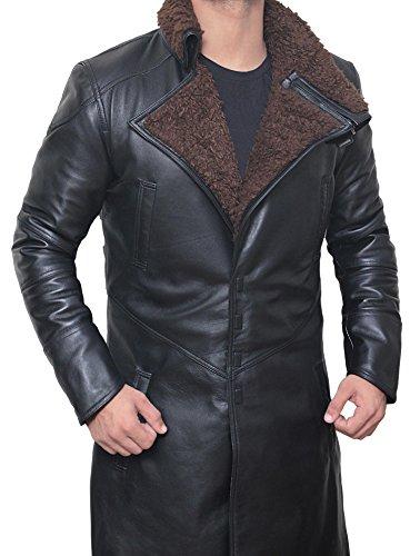 blade runner 2049 Ryan Gosling (Officer K) Shearling Black Trench Leather Coat Costume leather Jackets for Men XL
