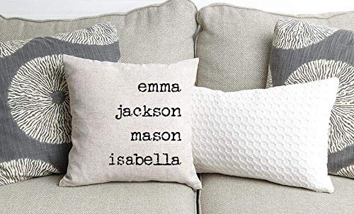 Qualtry Personalized Throw Pillow Covers 18 x 18 (12 Names)