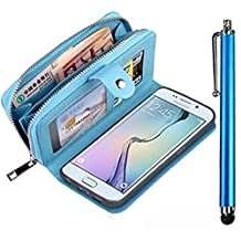 For Samsung Galaxy A5 (2015) Case,Vandot [Magnetic Detachable] Premium PU Leather Zipper Wallet Case Wrist Strap Purse With Card Slots Flip Folio Book Style Protective Cover Shell+Stylus Pen-Blue