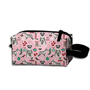 Cute Schnauzers Christmas Toiletry Bag Medicine Bag Pencil Case Toiletry Pouch Makeup Organizer Clutch Bag With Zipper For Daily Life,Travel And More