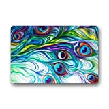Non-Slip Rectangle Peacock Feather Abstract Paintings Design Indoor and Outdoor Entrance Floor Mat Doormat - 23.6''(L) x 15.7''(W), 3/16'' Thickness
