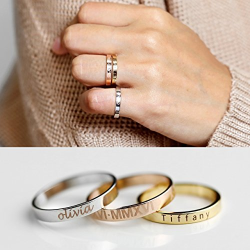 g Ring Stackable Rings Coordinates Ring Engraved Ring Personalized Ring Inspiration Ring Name Ring - R4 (Silver Dangling Disks Ring)
