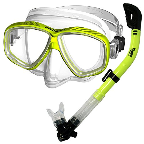 Promate Snorkel Dive Mask Snorkeling Set, Yellow