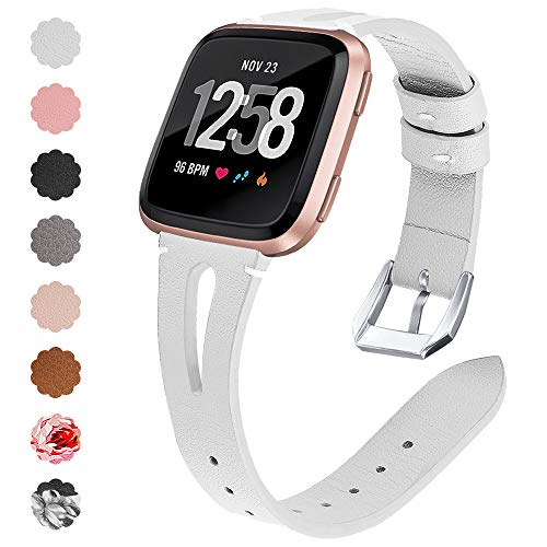 QIBOX Compatible Fitbit Versa Bands, Versa Lite Leather Bands Replacement Slim Genuine Accessories Wristband Strap for Fitbit Versa Smart Watch Women Men