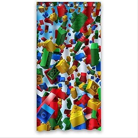 Ordinaire Custom Colorful Lego Blocks Pattern Polyester Fabric Bathroom Decor Shower  Curtain 36u0026quot;(w)