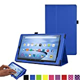 TECHGEAR All New Amazon Fire 7 Case, Amazon Fire 7' Alexa Tablet Leather Folio Case Cover with Viewing/Typing Stand [BLUE] - for 2017 released Amazon Fire 7' tablets