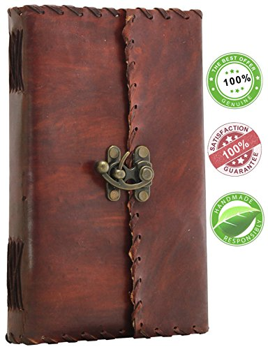 Todays Sale on Leather Journal - 9 x 5'' Poet's Notebook / Sketchbook / Scrapbook / Travel Diary with Handmade Paper, Brown Leather Cover and Latch Closure from SouvNear
