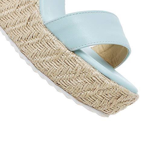 d'orteil Talon Boucle Unie Bleu AgooLar Sandales Couleur à GMBLA013053 Ouverture Haut Femme qxwnE8f6