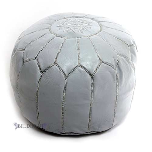 BeldiNest Moroccan Pouf Ottoman Leather Pouf Round Ottoman Leather Pouf, Perfect Home Ottoman Footrest Gray Leather Pouf