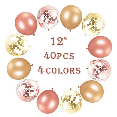 (Tinabless Party Confetti Balloons (40 Packs), Rose Gold Latex Glitter Balloons Set for Bridal Shower, Weddings, Birthday, Holiday Celebration Party Decoration, Baby Shower Balloons (12 Inch))