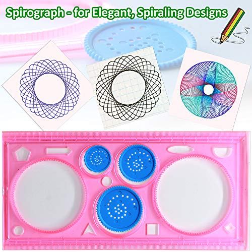 Letter Stencils Set for Kids - 4 Alphabet Letters Number Stencils Large and  Small 2 Geometric Figures Stencils and Spirograph - Plastic Kid Art