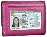 Women Small Wallet Genuine Leather Wallets Trifold Slim Credit Card Holder (Purple)