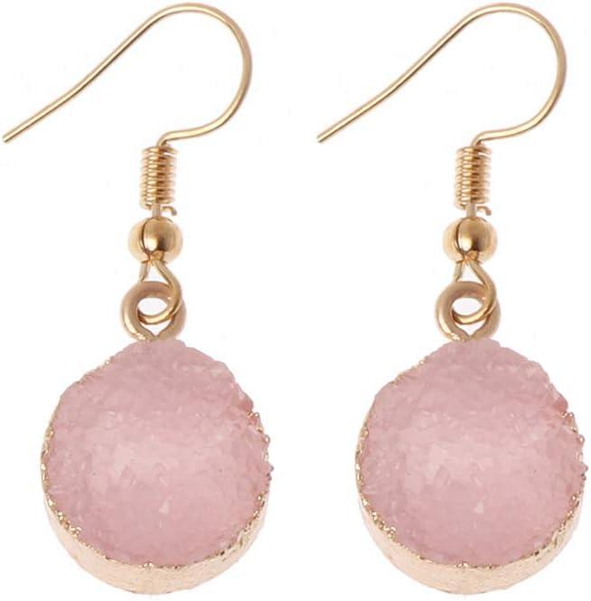 Junlinto Druzy Piedra Gancho Pendiente de Gota Círculo Redondo Cuarzo Natural Geoda Cristal Joyas Rosa