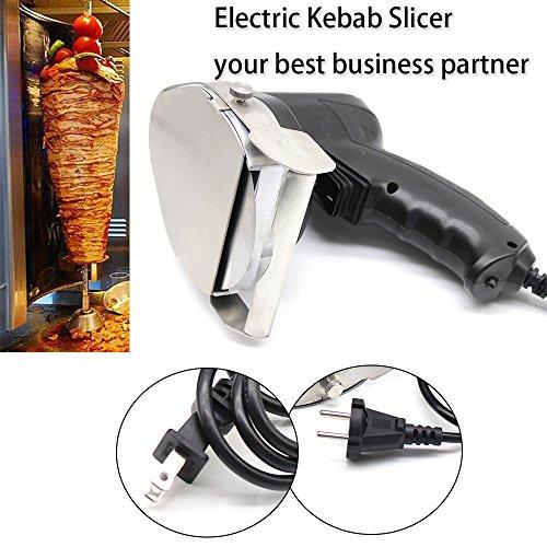 Electric Kebab Knife,110V 80W Professional Commercial Electric Shawarma Doner Kebab Knife Cutter Gyros Slicer Kebab Knife 2 Blades (USA Stock) by SHZICMY (Image #6)