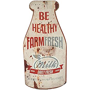 """Reproduction Vintage Milk Advertising Sign, Wood, 12"""""""