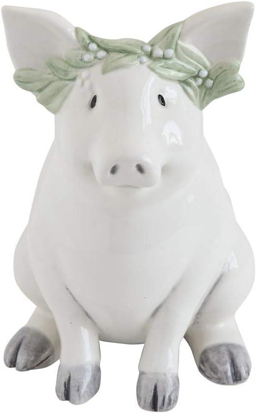 Creative Co-op 7-inch Ceramic Piggy Pank, White