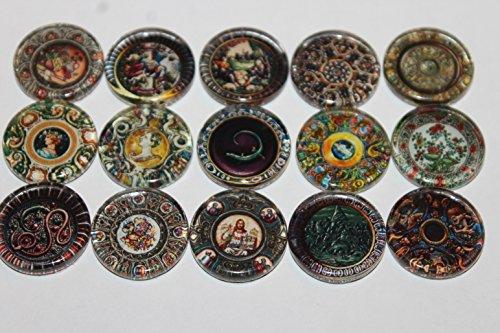 Designer Refrigerator Magnets - Majolica China Plates, Fine China Patterns Set 3
