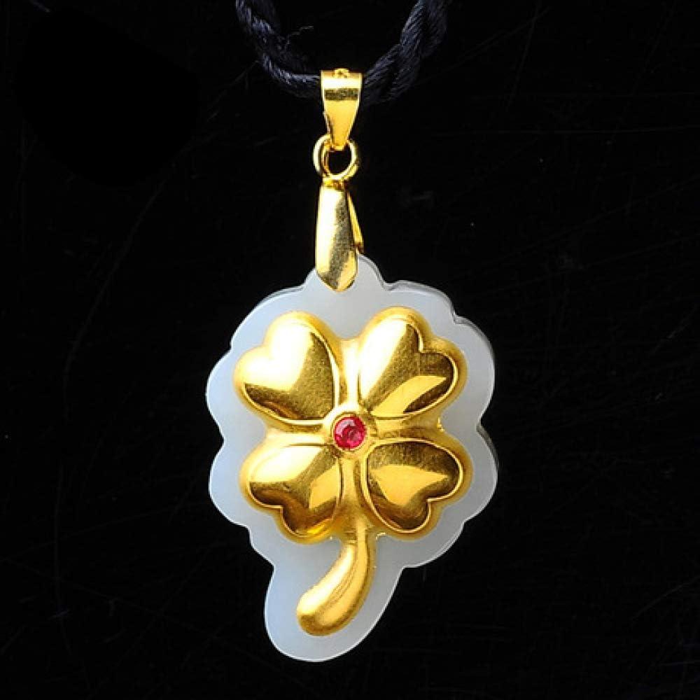 Aligeya Colgante, Colgante de Oro Jade con Incrustaciones de Oro 3D y trébol de Cuatro Hojas de Tianyu.