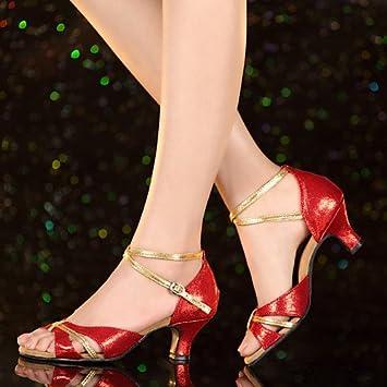 2b6614d2e27 T.T-Q Chaussures de Danse pour Femme Talons Vernis en Cuir Talon cubain  Débutant Bleu