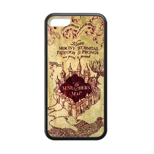 Retro Vintage Harry Potter MARAUDERS MAP iPhone 5c Case Best Durable Silicone Phone Case for iPhone 5C