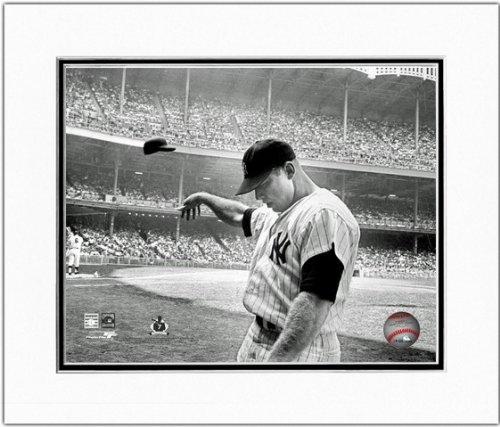 Black White Baseball Photos - Mickey Mantle NY Yankees 1965 MLB Matted Photo 11x14