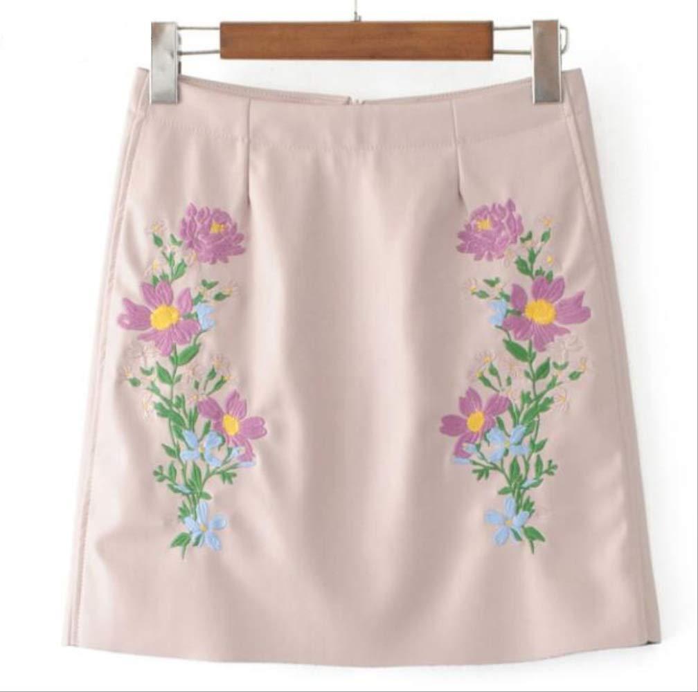 GDNTCJKY Faldas para Mujer Falda De Cuero Bordado Floral Verano ...