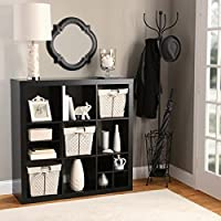 Better Homes and Gardens 9-Cube Versatile Organizer Storage Bookcase (Solid Black)
