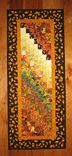 Art Quilt Fall Autumn Fabric Wall Hanging Textile Abstract 16x40