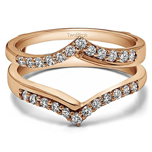 TwoBirch Rose Gold Plated Sterling Silver Chevron Shared Prong Ring Guard with Cubic Zirconia (0.6 ct. tw.)