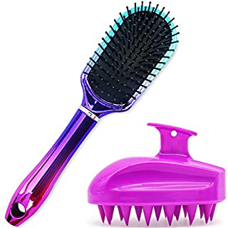 Oleh-Oleh Wet and Dry Brush Pro Detangle Hair Brush + Folding Mirror Mini Pop Up Hairbrush (purple+blue)