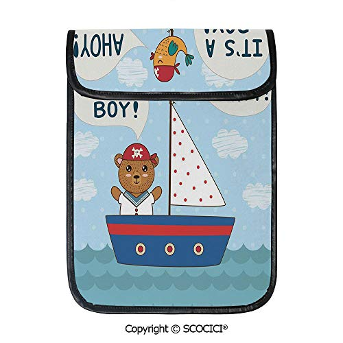 SCOCICI iPad Pro 12.9 Inch Sleeve Tablet Protective Bag Cute Baby Shower Theme Its A Boy in Style Bear and Bird in Boat Custom Tablet Sleeve Bag Case ()