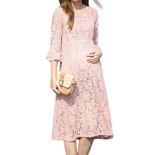 Las mujeres embarazadas en el vestido de la manera del cordón de la manga visten yardas grandes flojas de las mujeres embarazadas Pink