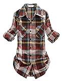 Match Women's Long Sleeve Plaid Flannel Shirt #2021(X-Large, Checks#4)
