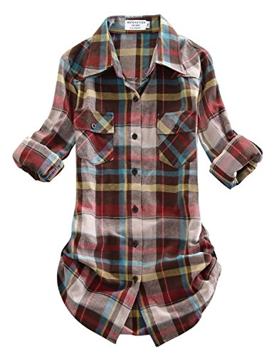 (Match Women's Long Sleeve Plaid Flannel Shirt #2021(X-Large, Checks#4))