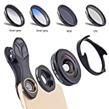 LIYO External Mobile Phone Lens, 16MM Wide-Angle Macro polarizing Filter ND Gradient 6-in-1 Mobile Phone Lens Set, Suitable for iPhone