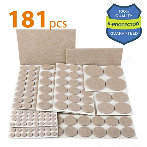 X-PROTECTOR Premium ULTRA LARGE Pack Furniture Pads 181 piece! Felt Pads Furniture Feet ALL SIZES – Your Best Wood Floor Protectors. Protect Your Hardwood & Laminate Flooring with 100% - Felt Buttons Desk