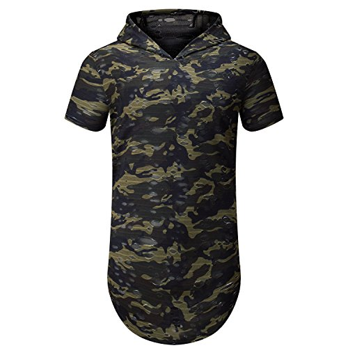 UNRESTRAINED Longline Hoodie Shirts Hip Hop Camo Clothing For Men Camo M