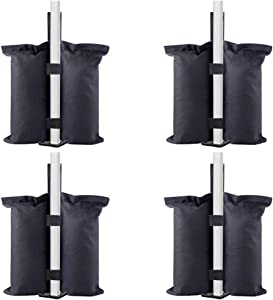 TESSLOVE Industrial Grade Weight Bags, Sand Bags Leg Weights for Pop up Canopy Tent, Patio Umbrella, Outdoor Furniture(Bags Only, Sand Excluded) (4pcs-L, Black)