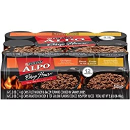 ALPO Chop House Variety Pack Dog Food 12-13.2 oz. Cans [includes 6 Filet Mignon & Bacon and 6 Roasted Chicken & Top Sirloin]