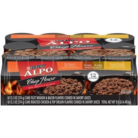 (ALPO Chop House Variety Pack Dog Food 12-13.2 oz. Cans [includes 6 Filet Mignon & Bacon and 6 Roasted Chicken & Top Sirloin])