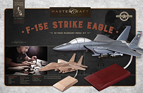 Mastercraft Boeing F-15E Strike Eagle DIY Mahogany Wood Model Kit 1:42 (Mahogany Model Aircraft)