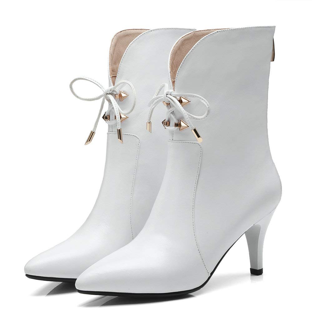 White AnMengXinLing Ankle High Boots Women Genuine Leather Pointed Toe High Heel Studded Booties Lace Up Dress Pumps shoes