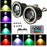 AUDEW 2 x LED COB 3 Inch Fog Light RGB Lamp Projector DRL Angel Eyes Halo Car Control