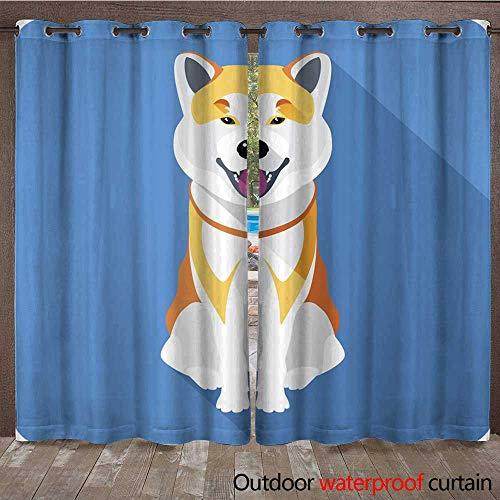 Slate Akita (RenteriaDecor Outdoor Ultraviolet Protective Curtains Dog Akita Inu Japanese Breed icon Flat Design W108 x L84)