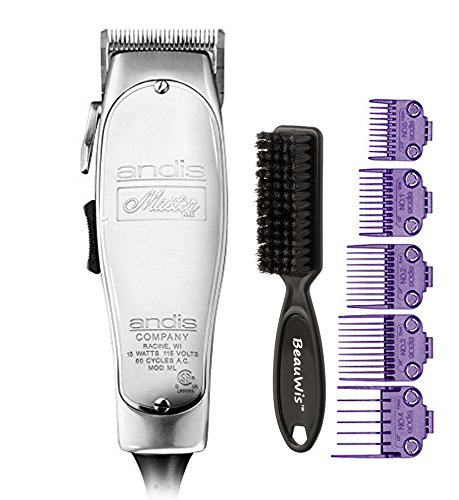 Adjustable Blade Set - Andis Master Hair Adjustable Blade Clipper, with a Andis Master Dual Magnet 5-Comb Set with a BeauWis Blade Brush